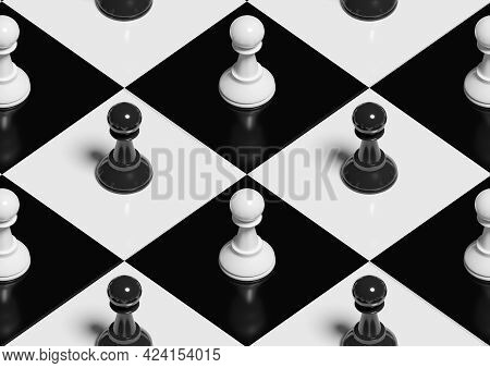 Pawns On A Chess Board. Isometric Seamless Pattern. 3d Illustration.