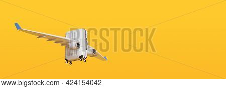 Suitcase With Airplane Wings Flying On Yellow Background With Copy Space. 3d Illustration.