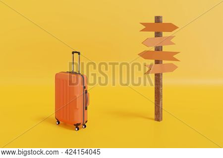 Suitcase Near A Sign With Arrows Isolated On Yellow Background. 3d Illustration.