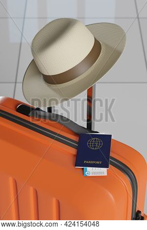 Passport And Boarding Pass In A Suitcase. 3d Illustration.