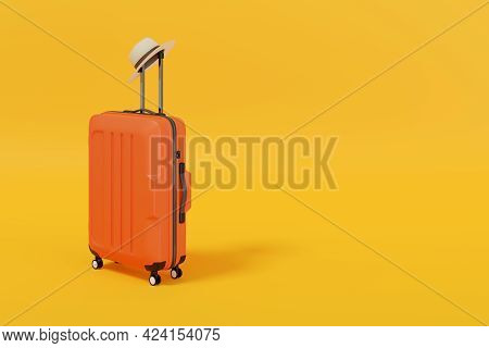 Suitcase With Hat Isolated On Yellow Background With Copy Space. 3d Illustration.