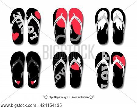 Flip Flops Design Collection. Black Beach Slippers With Cute Hearts And Wings. Summer Footwear.