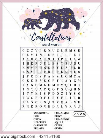 Constellations Word Search Puzzle. Educational Logic Game. Printable Worksheet For Learning English