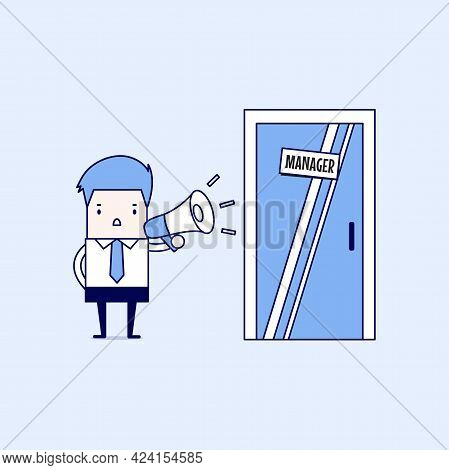 Businessman Shouting Through Megaphone Outside Manager Room. Cartoon Character Thin Line Style Vecto