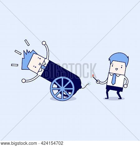 Businessman In Cannon, Shortcuts To Success. Cartoon Character Thin Line Style Vector.