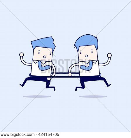 Businessmen Are Running To The Opposite Direction From Each Other. Cartoon Character Thin Line Style