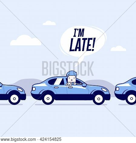 Businessman On The Road With Traffic Jam, Late For Work. Cartoon Character Thin Line Style Vector.