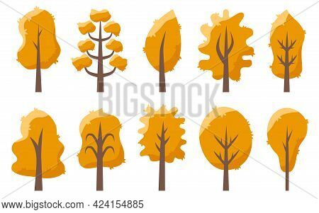 Trees Autumn Yellow Orange With Leaves On A White Isolated Background Set. Designer Fall Objects Ele