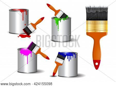Set Of Realistic Brush Paint, Or Paint Can With Brush Effect Realistic In Various Color Painting Or