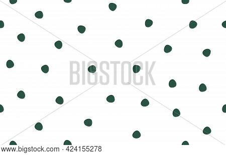 Abstract Hand Drawn Seamless Pattern Polka Dots. Textured Doodle Circles Limitless Creative Backgrou