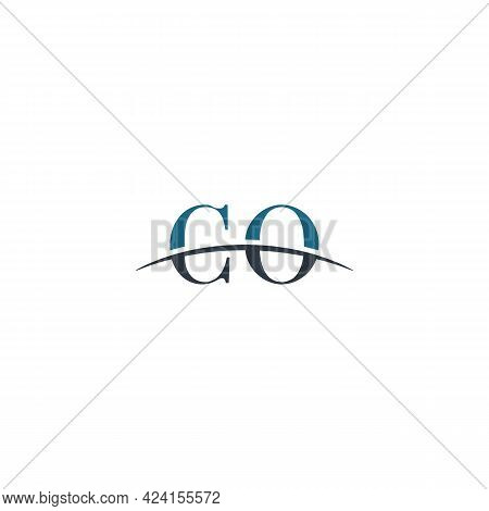 Initial Letter Co, Overlapping Movement Swoosh Horizon Logo Company Design Inspiration In Blue And G