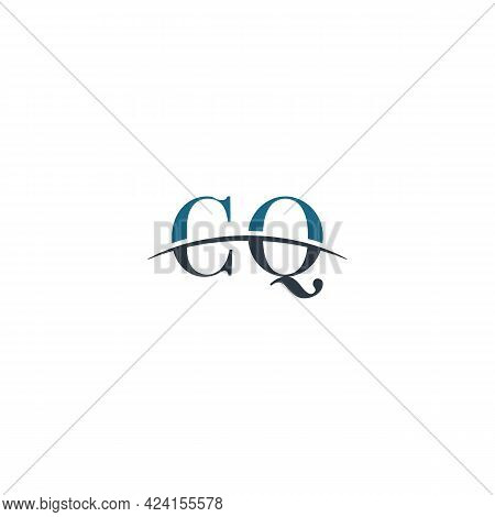 Initial Letter Cq, Overlapping Movement Swoosh Horizon Logo Company Design Inspiration In Blue And G