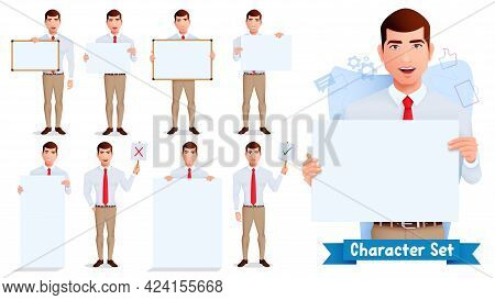 Businessman Character Vector Set. Business Man Characters In Presenting Pose And Gestures With White