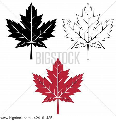 Maple Leaf Icon On White Background. Red Maple Leaf Sign. Canada Maple Leaf Outline Symbol. Flat Sty