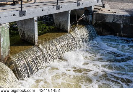 Rideau Canal Locks In Ottawa, Canada. Close Up Of Flowing Water