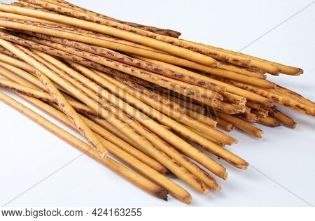 A Bunch Of Breadsticks On A White Background. Art Bread, Bread Stick.