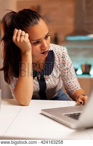 Woman Having A Headache While Trying To Finish A Project Before Deadline. Employee Using Modern Tech