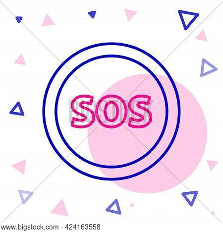 Line Location With Sos Icon Isolated On White Background. Sos Call Marker. Map Pointer Sign. Colorfu