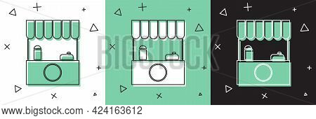 Set Street Stall With Awning And Wooden Rack Icon Isolated On White And Green, Black Background. Kio