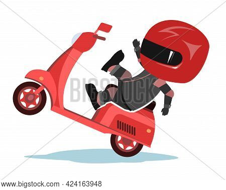 Scooter Driver. Biker Cartoon. Child Illustration. Accident. In A Sports Uniform And A Red Helmet. C