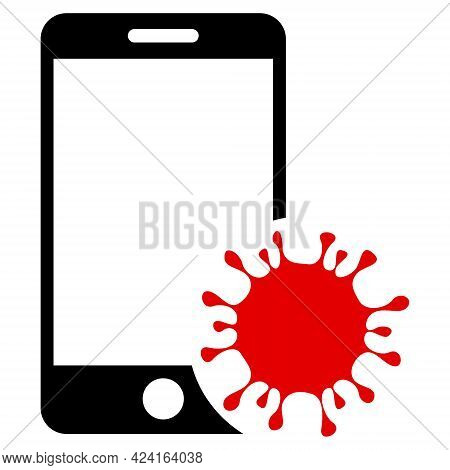 Infected Smartphone Icon With Flat Style. Isolated Raster Infected Smartphone Icon Illustrations, Si