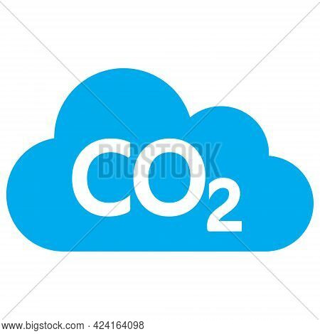 Carbon Dioxide Cloud Icon With Flat Style. Isolated Raster Carbon Dioxide Cloud Icon Image, Simple S