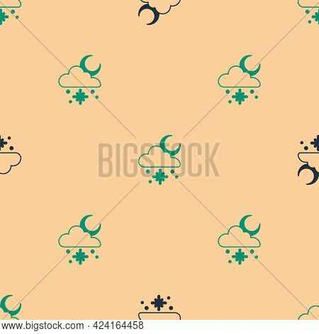 Green And Black Cloud With Snow And Sun Icon Isolated Seamless Pattern On Beige Background. Cloud Wi