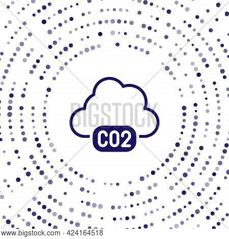 Blue Co2 Emissions In Cloud Icon Isolated On White Background. Carbon Dioxide Formula, Smog Pollutio