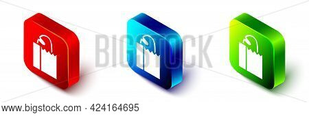 Isometric Paper Bag With Bread Loaf Icon Isolated On White Background. Red, Blue And Green Square Bu