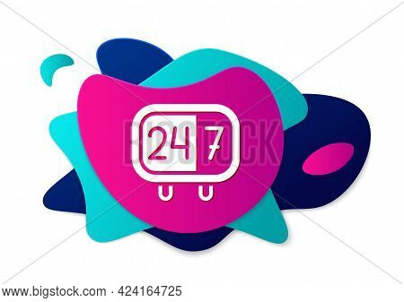 Color Clock 24 Hours Icon Isolated On White Background. All Day Cyclic Icon. 24 Hours Service Symbol