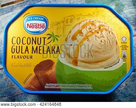 Malaysia, Perak, 19 June 2021: Ice Cream From Nestle Brand Flavored Coconut Gula Melaka (in Malay) O