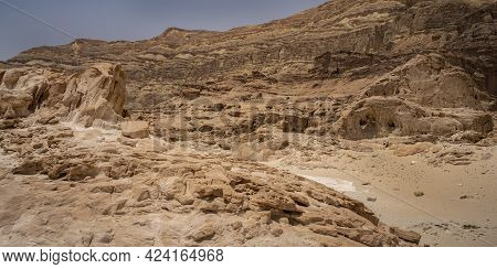 Various Rock Formations In The Mountains Of Timna Valley Park, The Negev Desert, Southern Israel.