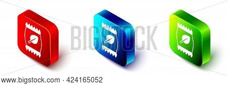 Isometric Fertilizer Bag Icon Isolated On White Background. Red, Blue And Green Square Button. Vecto