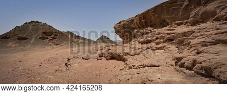 Various Rock Formations And Red Sand In The Timna Valley Park, The Negev Desert, Southern Israel.