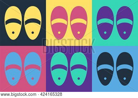 Pop Art Slippers Icon Isolated On Color Background. Flip Flops Sign. Vector