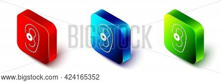 Isometric Hearing Aid Icon Isolated On White Background. Hearing And Ear. Red, Blue And Green Square