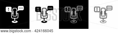 Set Freedom Of Speech Icon Isolated On Black And White Background. Freedom Of Expression. Vector