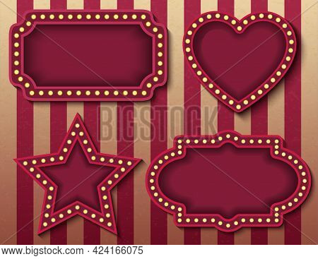 Circus Signboards. Vector Stock Brightly Glowing Retro Cinema Neon Signs Banners. Carnival Style Eve