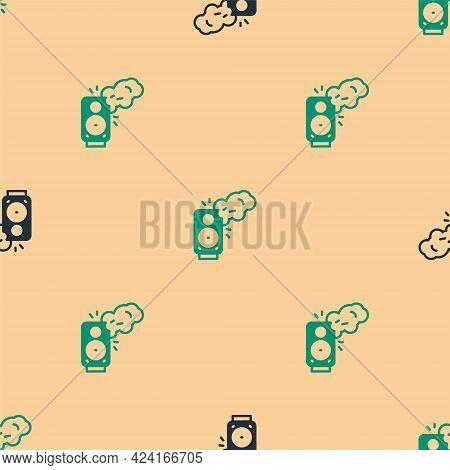 Green And Black Stereo Speaker Icon Isolated Seamless Pattern On Beige Background. Sound System Spea
