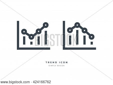 Business Market Trend Graph Icon Isolated On White Background. Trend With Arrow Going Up And Down.