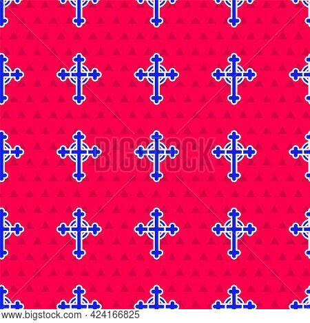 Blue Christian Cross Icon Isolated Seamless Pattern On Red Background. Church Cross. Vector