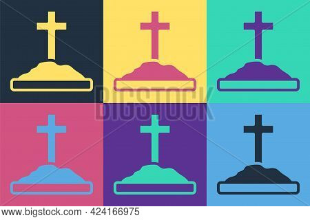 Pop Art Grave With Cross Icon Isolated On Color Background. Vector