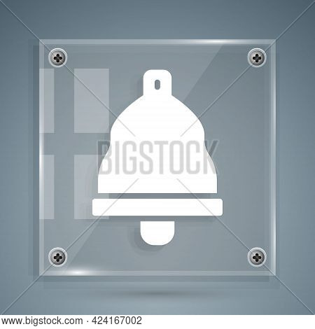 White Church Bell Icon Isolated On Grey Background. Alarm Symbol, Service Bell, Handbell Sign, Notif