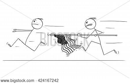 Man With Usa Or Us Flag Chasing Running Man, United States Of America, Vector Cartoon Stick Figure I
