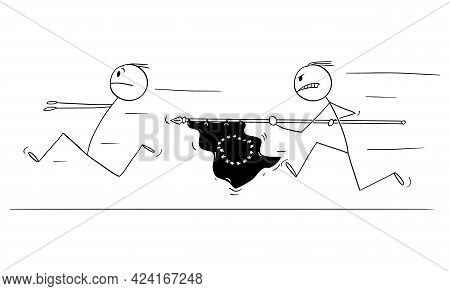 Man With Eu Or European Union Flag Chasing Running Man, Vector Cartoon Stick Figure Illustration