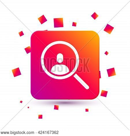 White Magnifying Glass For Search A People Icon Isolated On White Background. Recruitment Or Selecti