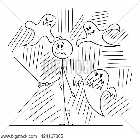 Frightened Person With Flashlight Surrounded By Scary Ghosts, Vector Cartoon Stick Figure Illustrati
