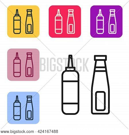 Black Line Sauce Bottle Icon Isolated On White Background. Ketchup, Mustard And Mayonnaise Bottles W