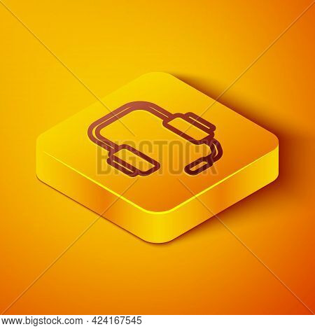 Isometric Line Online Psychological Counseling Distance Icon Isolated On Orange Background. Psychoth