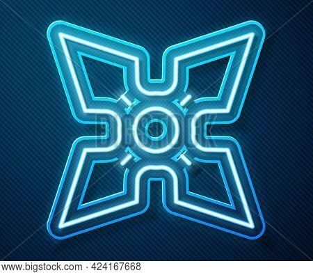 Glowing Neon Line Japanese Ninja Shuriken Icon Isolated On Blue Background. Vector